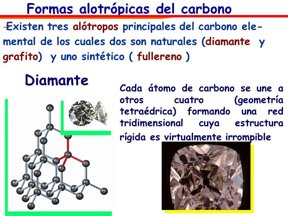 Formas alotrópicas del carbono Diamante Cada átomo de carbono se une a otros cuatro (geometría tetraédrica) formando una red tridimensional cuya estru