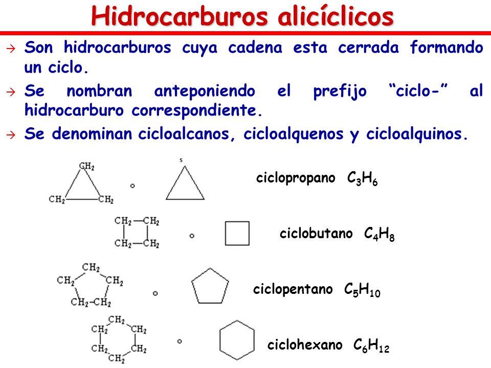Hidrocarburos alicíclicos Son hidrocarburos cuya cadena esta cerrada formando un ciclo. Se nombran anteponiendo el prefijo ciclo- al hidrocarburo corr