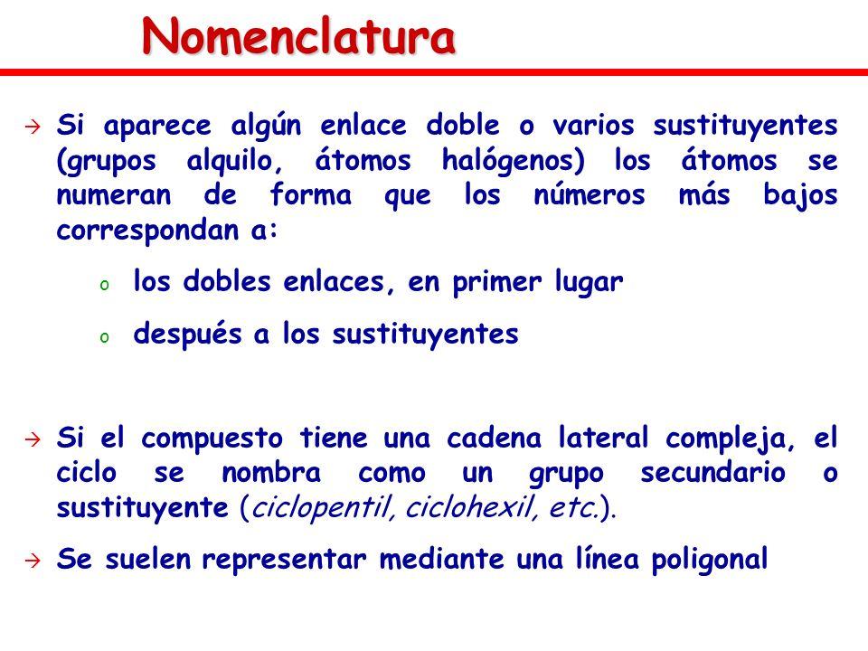 Nomenclatura Si aparece algún enlace doble o varios sustituyentes (grupos alquilo, átomos halógenos) los átomos se numeran de forma que los números má