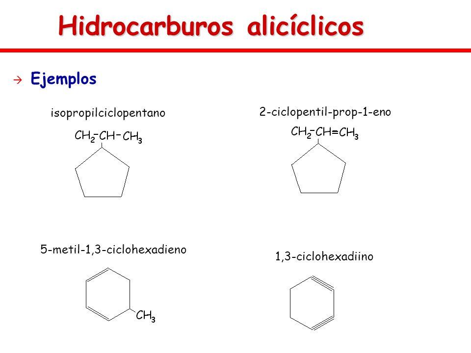 Hidrocarburos alicíclicos Ejemplos 5-metil-1,3-ciclohexadieno 1,3-ciclohexadiino 2-ciclopentil-prop-1-eno isopropilciclopentano