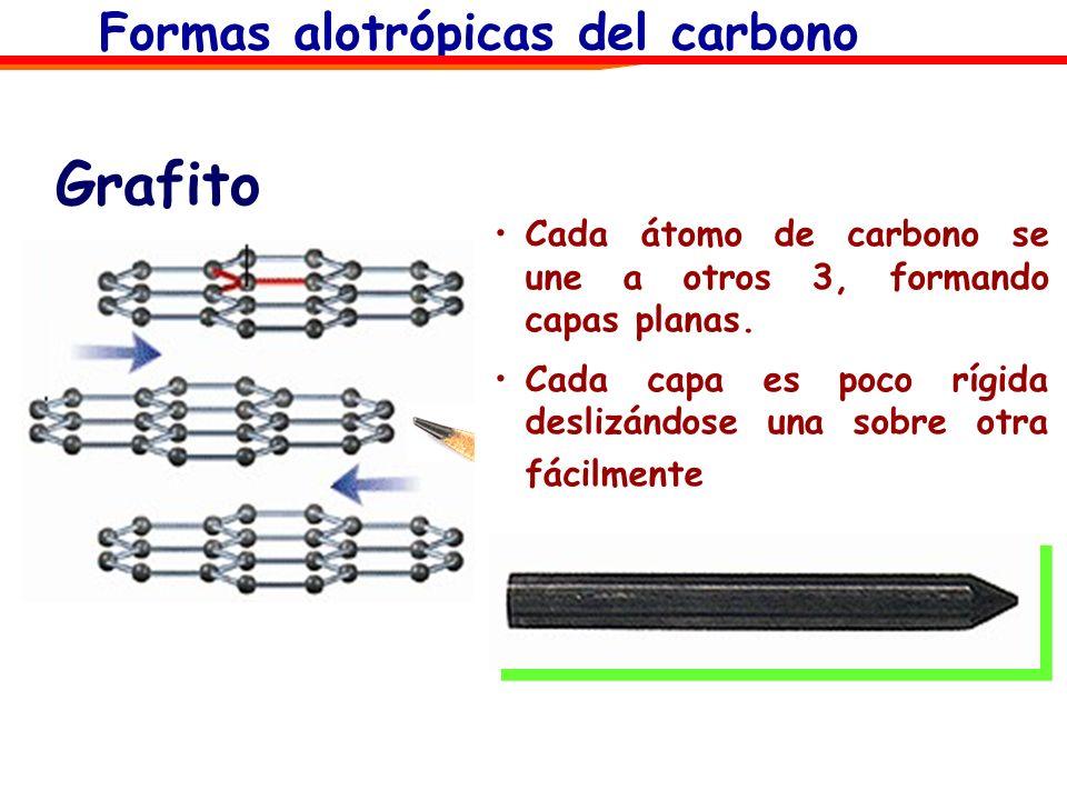 Grafito Cada átomo de carbono se une a otros 3, formando capas planas. Cada capa es poco rígida deslizándose una sobre otra fácilmente. Formas alotróp