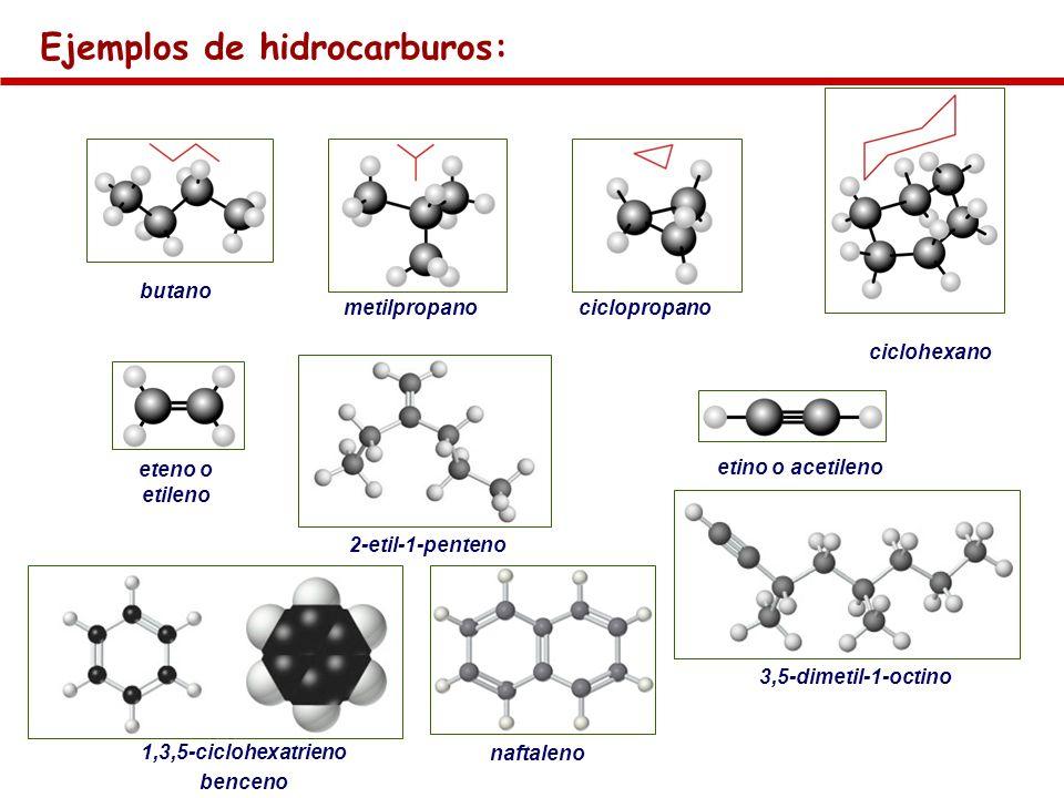 Ejemplos de hidrocarburos: butano metilpropanociclopropano ciclohexano eteno o etileno etino o acetileno 1,3,5-ciclohexatrieno benceno naftaleno 2-eti
