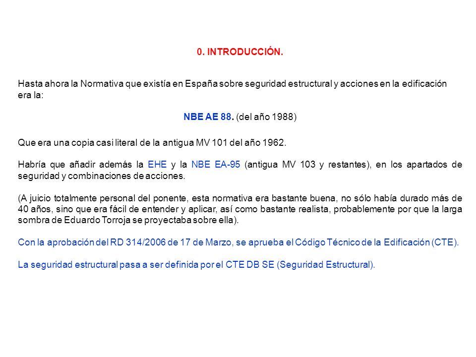 0. INTRODUCCIÓN. Hasta ahora la Normativa que existía en España sobre seguridad estructural y acciones en la edificación era la: NBE AE 88. (del año 1