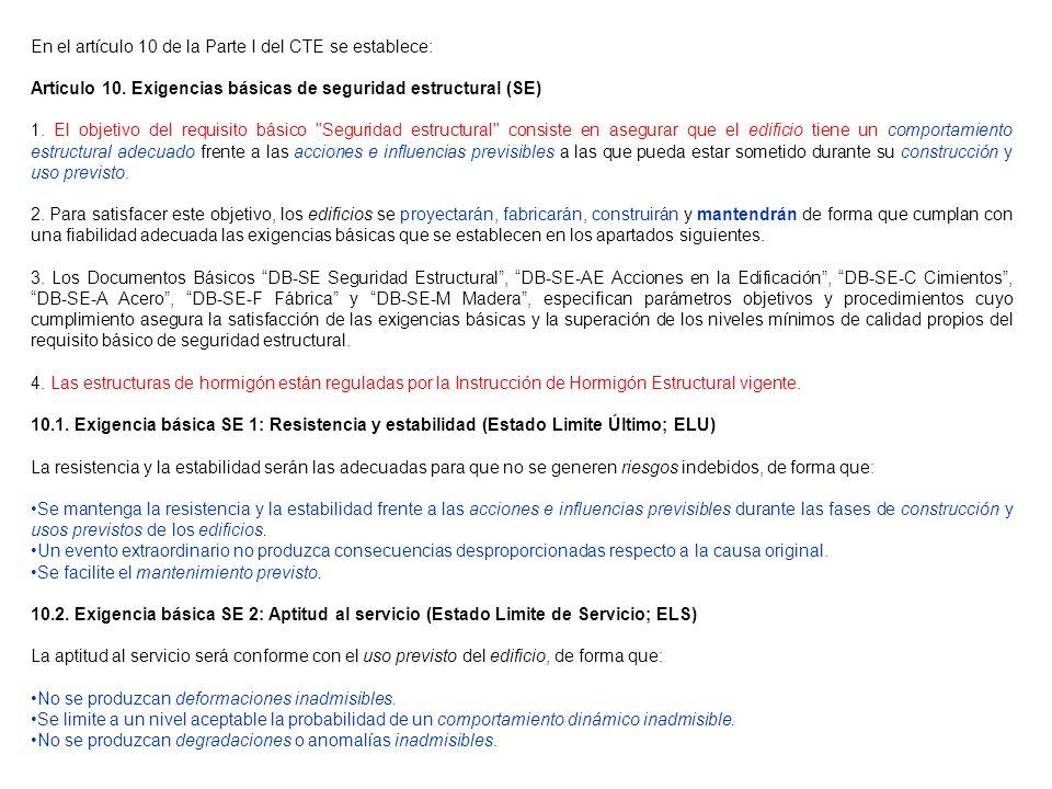 En el artículo 10 de la Parte I del CTE se establece: Artículo 10. Exigencias básicas de seguridad estructural (SE) 1. El objetivo del requisito básic