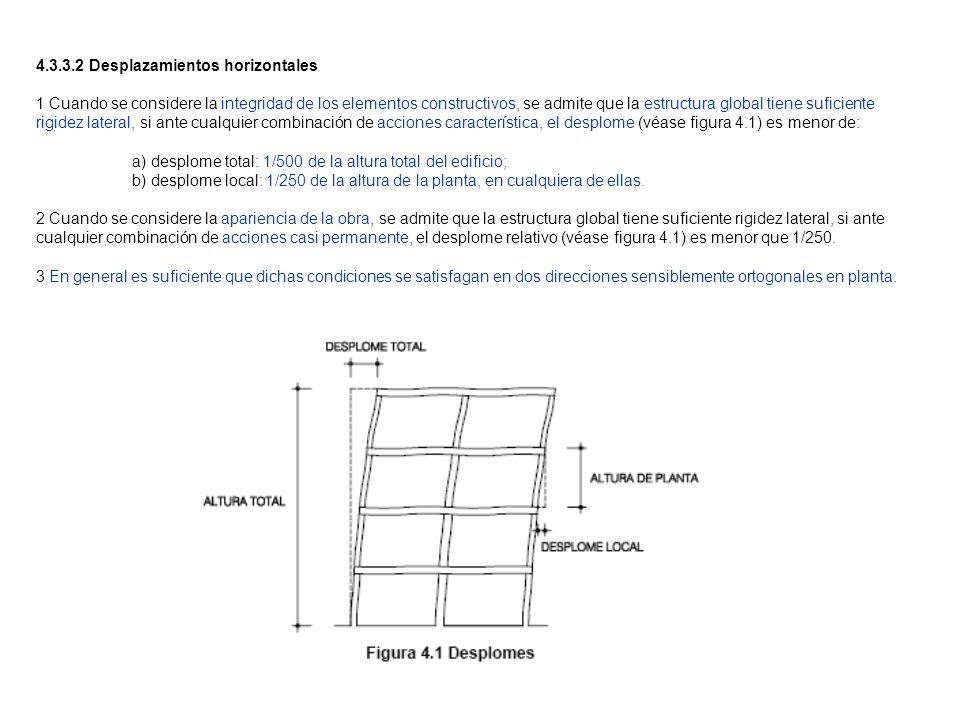 4.3.3.2 Desplazamientos horizontales 1 Cuando se considere la integridad de los elementos constructivos, se admite que la estructura global tiene sufi