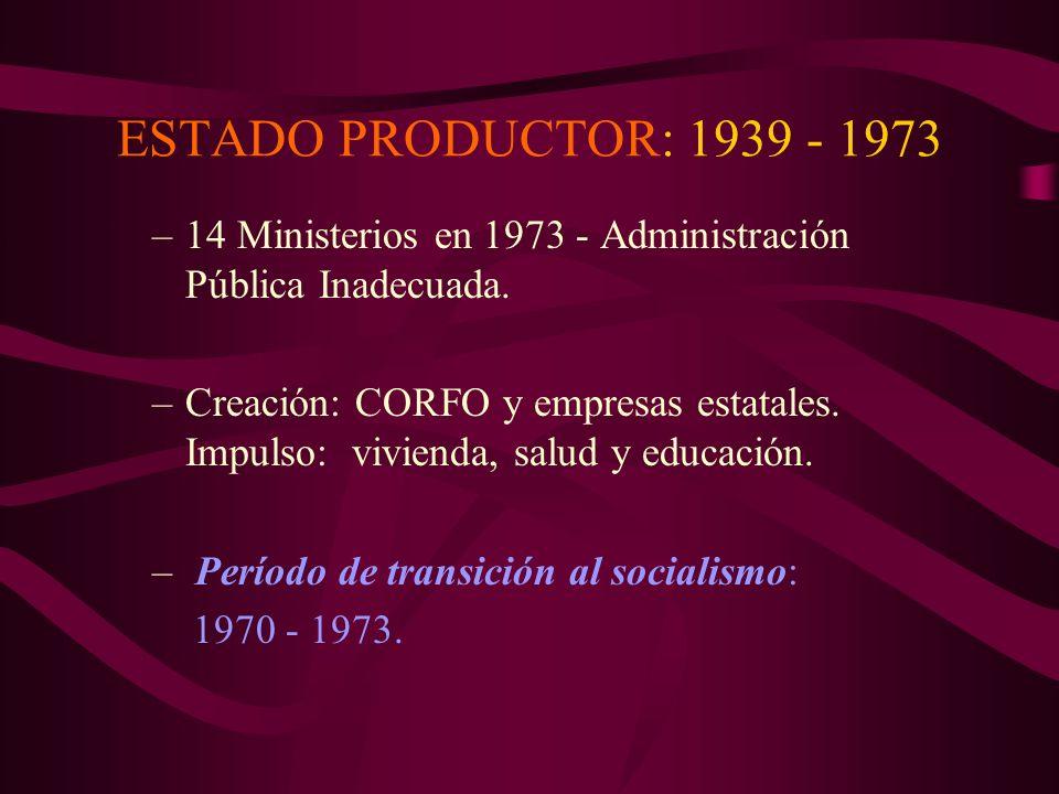 ESTADO INTERVENCIONISTA: 1918-1939 –11 Ministerios en 1932 - Administración Pública Adecuada –Creación: Superintendencias, Banco Central, Contraloría