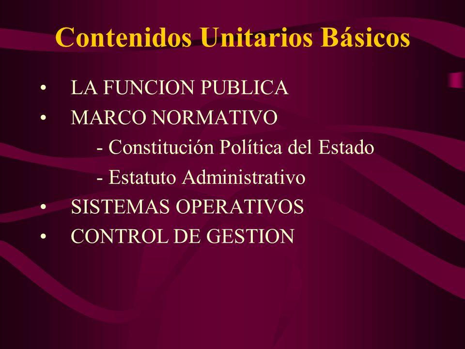 Contenidos Unitarios Básicos LA FUNCION PUBLICA MARCO NORMATIVO - Constitución Política del Estado - Estatuto Administrativo SISTEMAS OPERATIVOS CONTROL DE GESTION