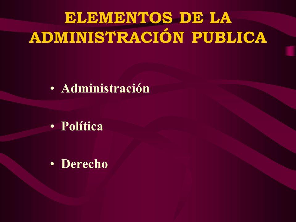 ELEMENTOS DE LA ADMINISTRACIÓN PUBLICA Administración Política Derecho