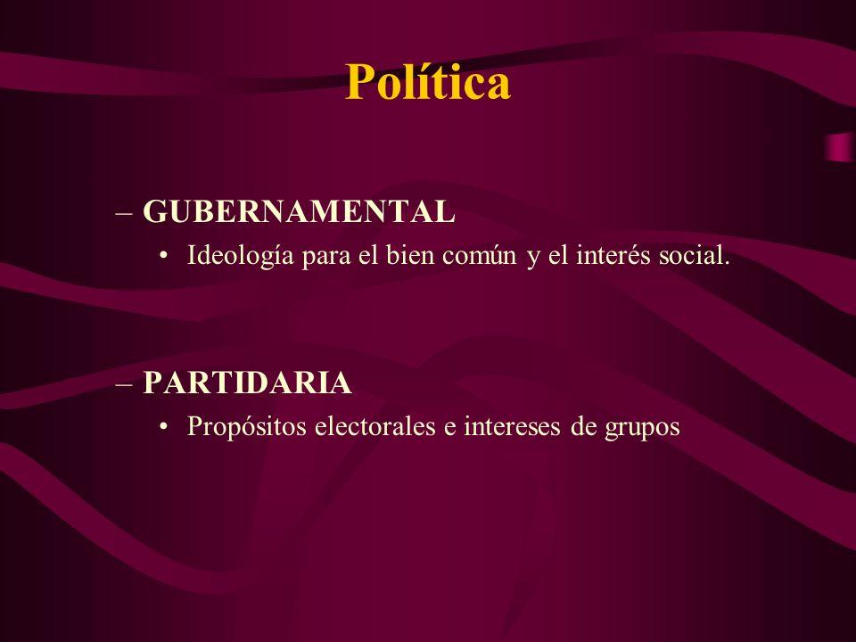 Política –GUBERNAMENTAL Ideología para el bien común y el interés social.