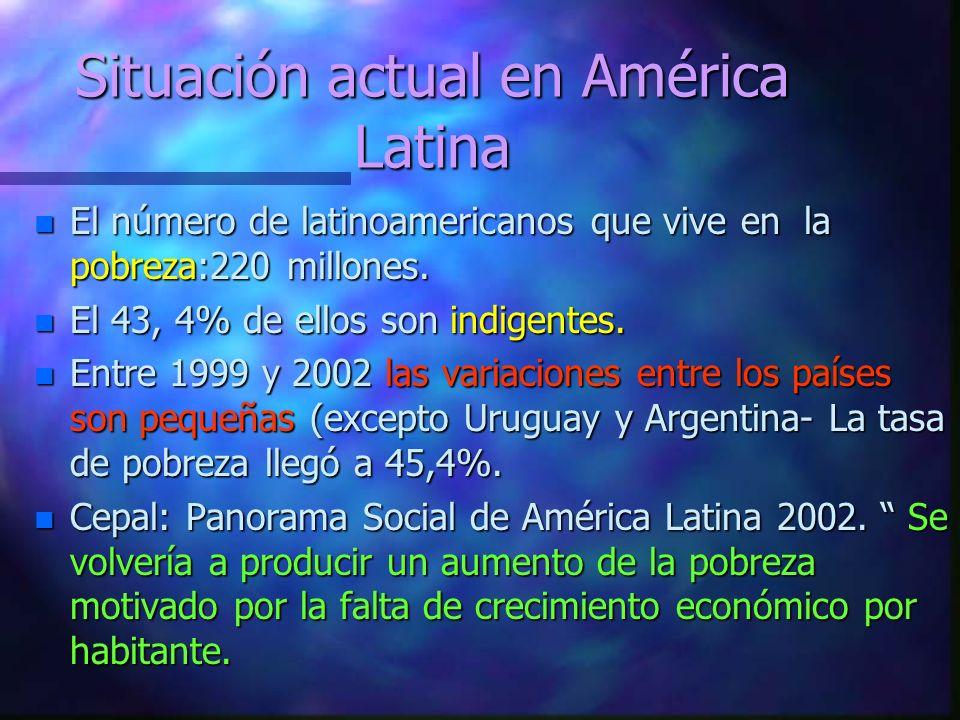 Situación actual en América Latina n El número de latinoamericanos que vive en la pobreza:220 millones.