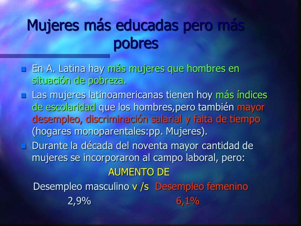 Mujeres más educadas pero más pobres n En A.