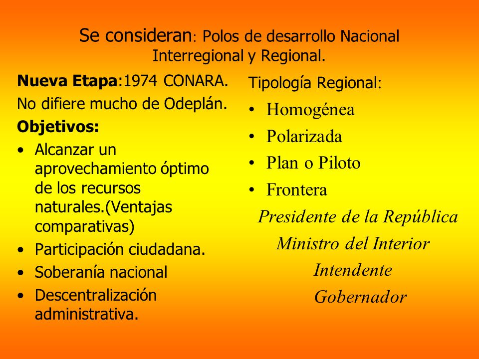 Se consideran : Polos de desarrollo Nacional Interregional y Regional. Nueva Etapa:1974 CONARA. No difiere mucho de Odeplán. Objetivos: Alcanzar un ap