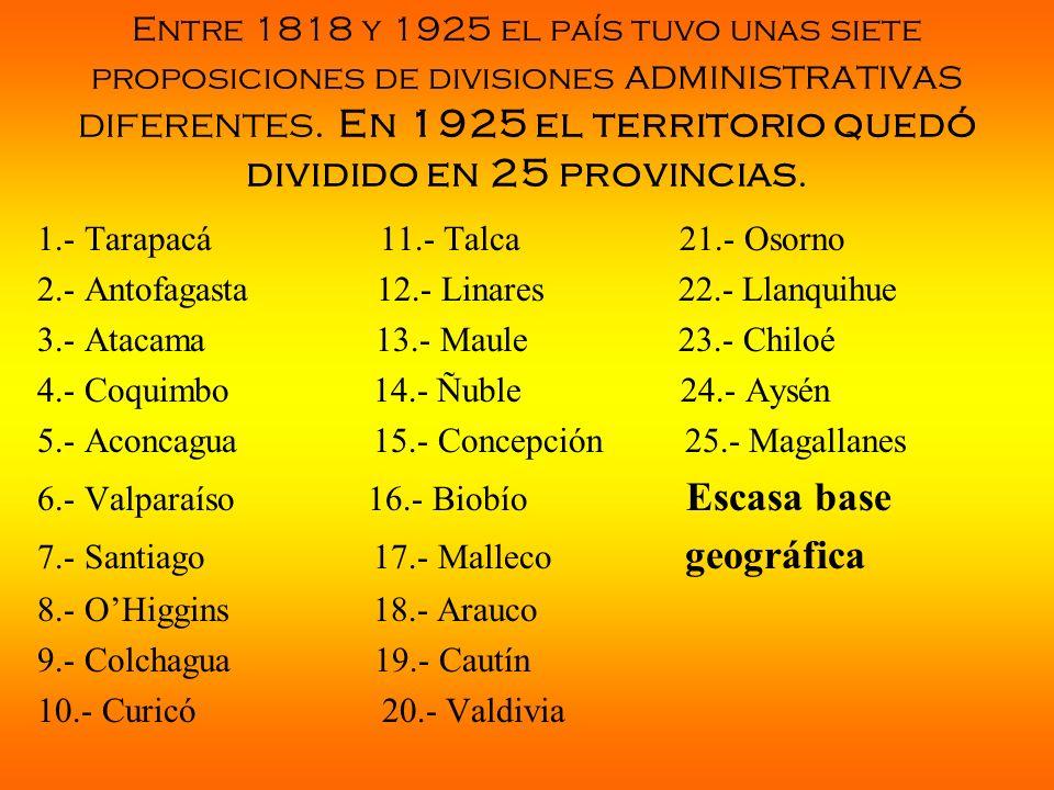 Entre 1818 y 1925 el país tuvo unas siete proposiciones de divisiones administrativas diferentes. En 1925 el territorio quedó dividido en 25 provincia