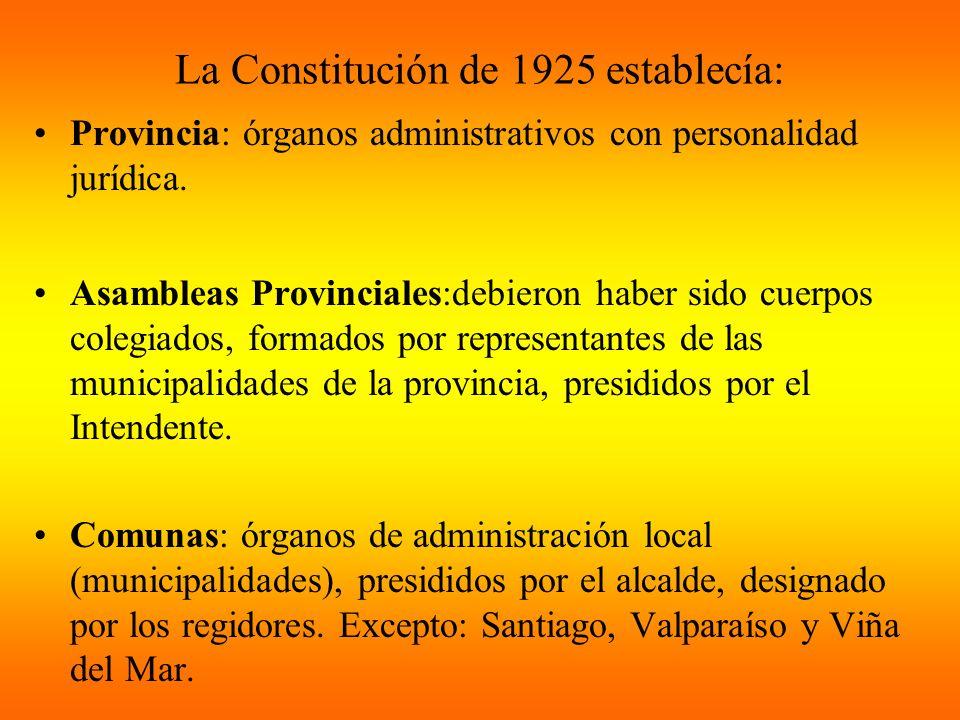 La Constitución de 1925 establecía: Provincia: órganos administrativos con personalidad jurídica. Asambleas Provinciales:debieron haber sido cuerpos c