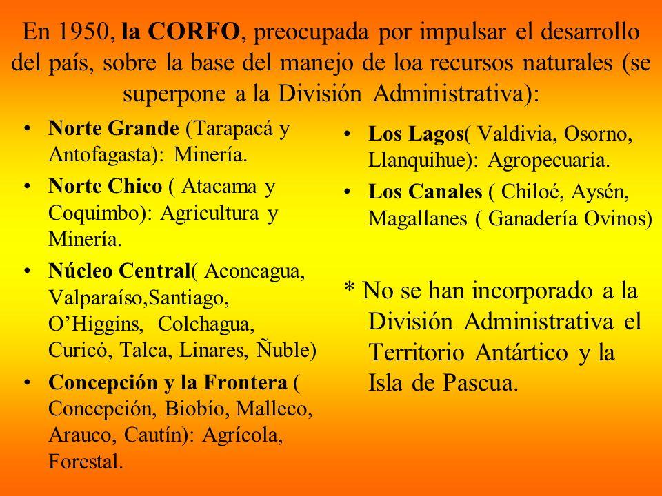 En 1950, la CORFO, preocupada por impulsar el desarrollo del país, sobre la base del manejo de loa recursos naturales (se superpone a la División Admi