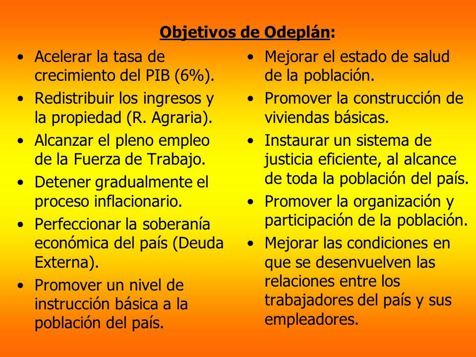 Objetivos de Odeplán: Acelerar la tasa de crecimiento del PIB (6%). Redistribuir los ingresos y la propiedad (R. Agraria). Alcanzar el pleno empleo de