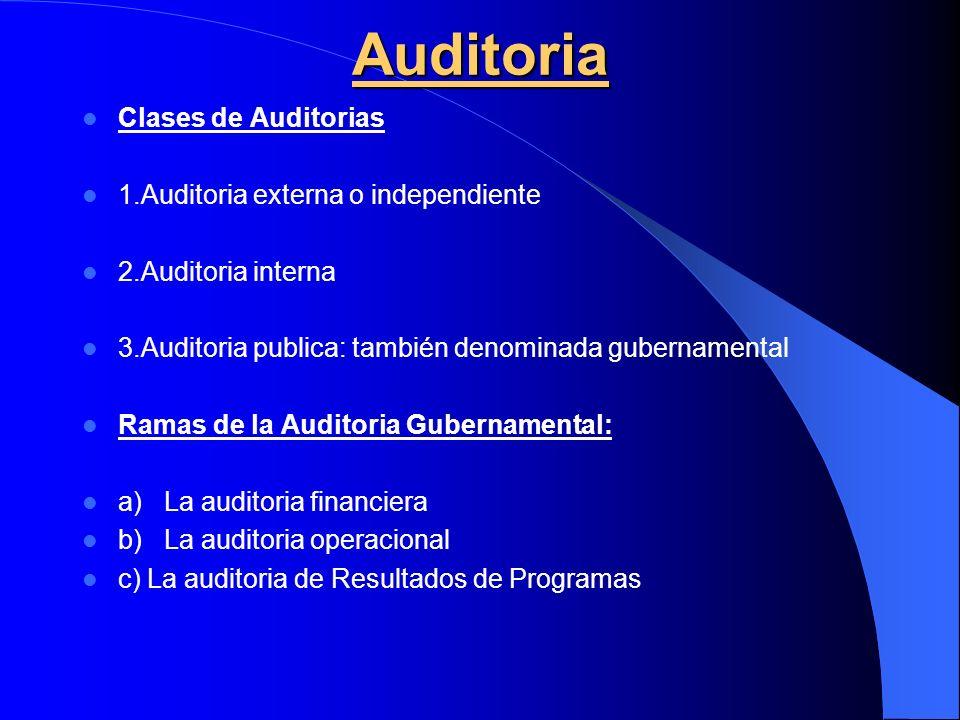 Auditoria Clases de Auditorias 1.Auditoria externa o independiente 2.Auditoria interna 3.Auditoria publica: también denominada gubernamental Ramas de