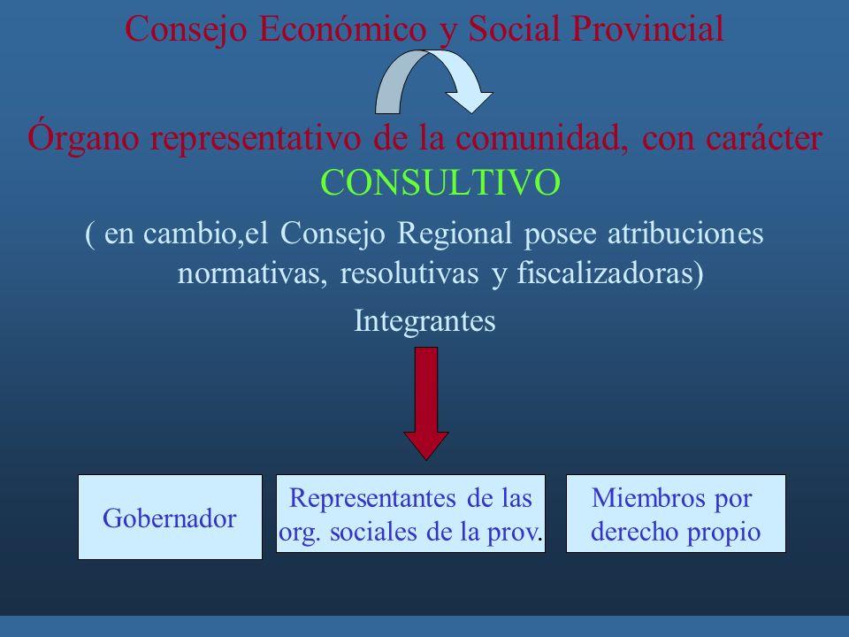 Consejo Económico y Social Provincial Órgano representativo de la comunidad, con carácter CONSULTIVO ( en cambio,el Consejo Regional posee atribuciones normativas, resolutivas y fiscalizadoras) Integrantes Gobernador Representantes de las org.