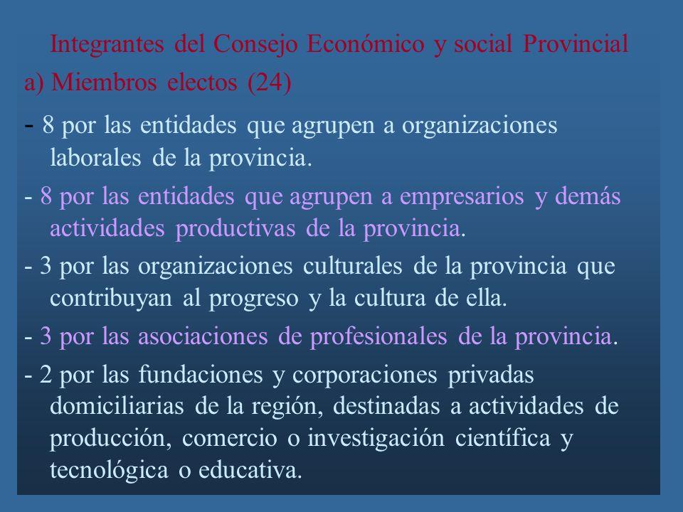 Integrantes del Consejo Económico y social Provincial a) Miembros electos (24) - 8 por las entidades que agrupen a organizaciones laborales de la provincia.