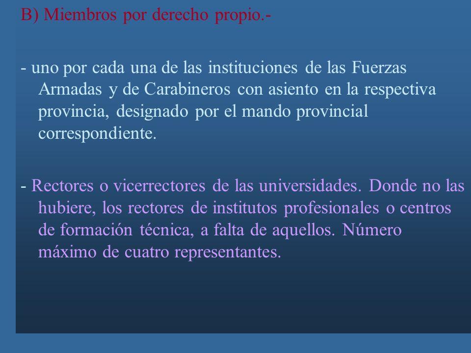 Integrantes del Consejo Económico y social Provincial a) Miembros electos (24) - 8 por las entidades que agrupen a organizaciones laborales de la prov