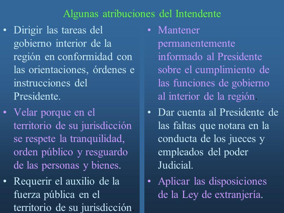 Algunas atribuciones del Intendente Dirigir las tareas del gobierno interior de la región en conformidad con las orientaciones, órdenes e instrucciones del Presidente.
