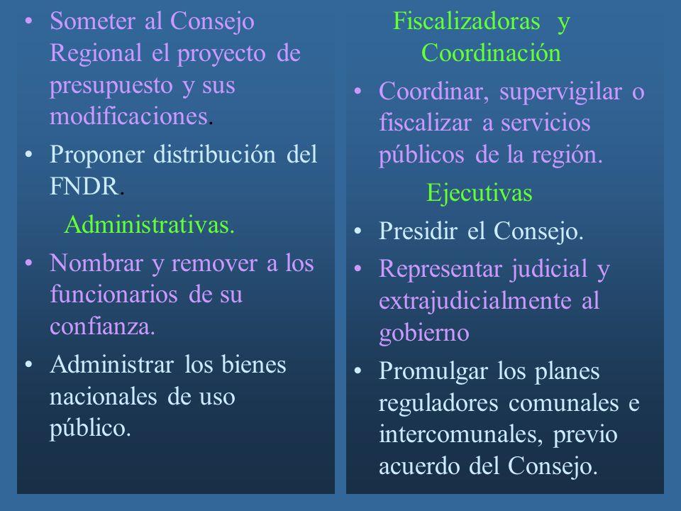 Someter al Consejo Regional el proyecto de presupuesto y sus modificaciones.