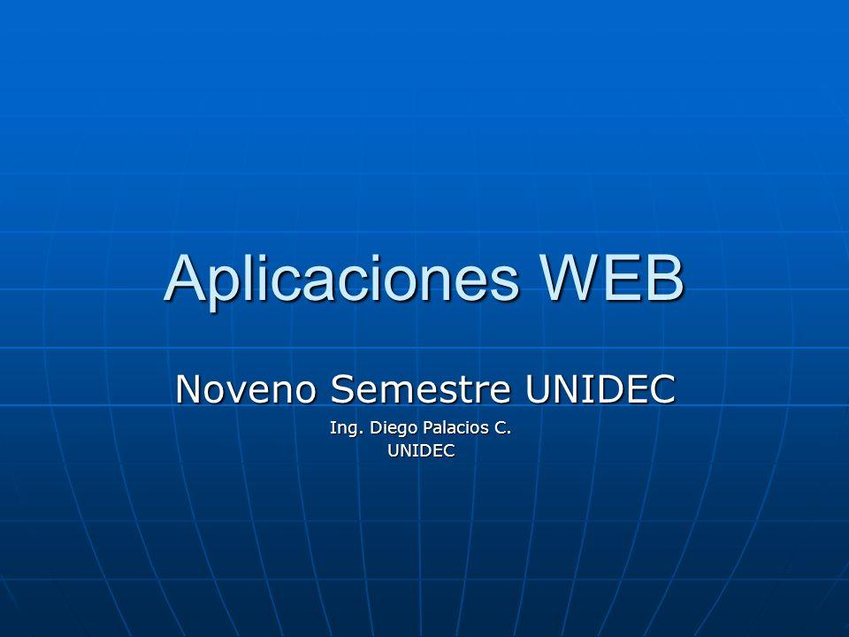 Aplicaciones WEB Noveno Semestre UNIDEC Ing. Diego Palacios C. UNIDEC