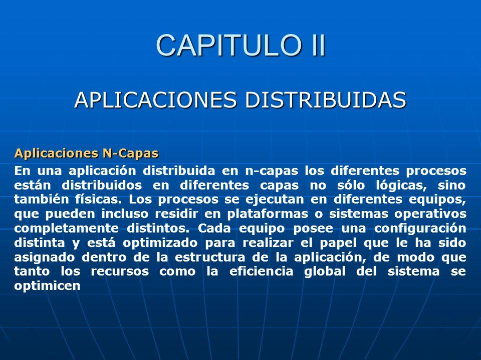 CAPITULO II APLICACIONES DISTRIBUIDAS Aplicaciones N-Capas En una aplicación distribuida en n-capas los diferentes procesos están distribuidos en dife