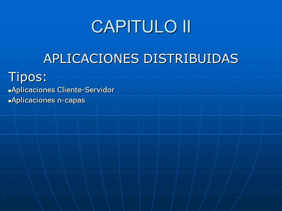 CAPITULO II APLICACIONES DISTRIBUIDAS Tipos: Aplicaciones Cliente-Servidor Aplicaciones Cliente-Servidor Aplicaciones n-capas Aplicaciones n-capas