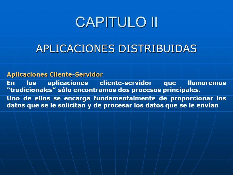 CAPITULO II APLICACIONES DISTRIBUIDAS Aplicaciones Cliente-Servidor En las aplicaciones cliente-servidor que llamaremos tradicionales sólo encontramos