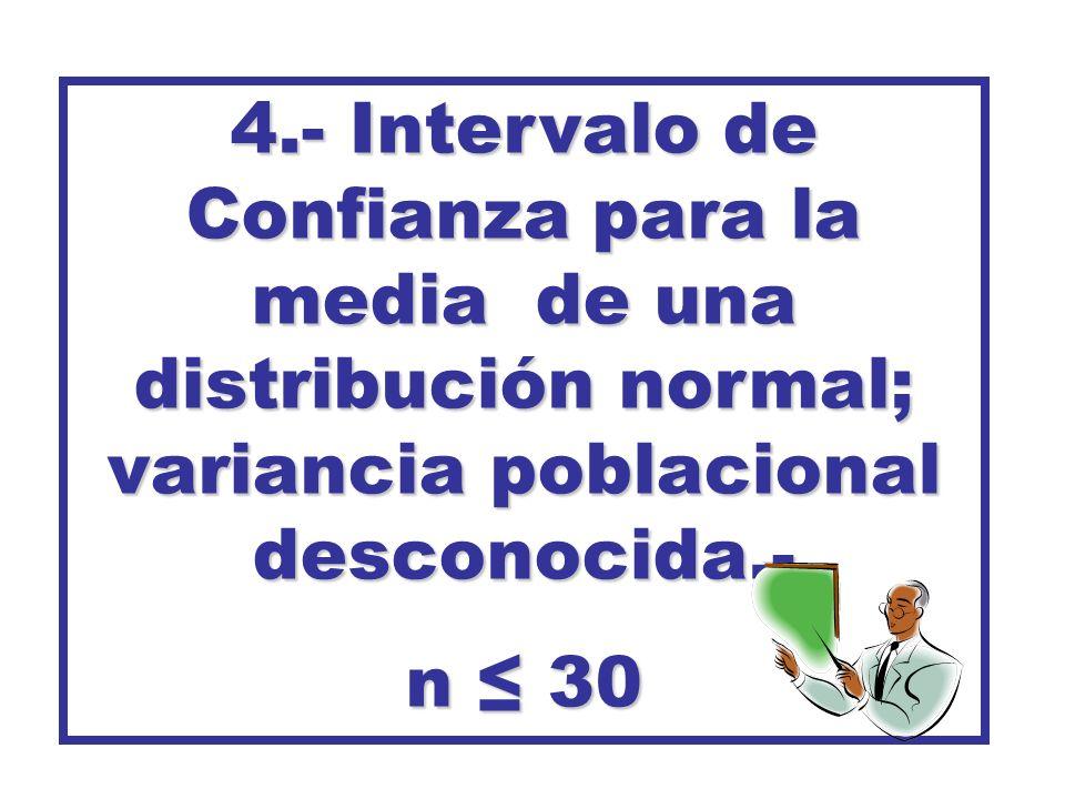 4.- Intervalo de Confianza para la media de una distribución normal; variancia poblacional desconocida.- n 30