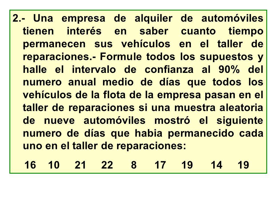 2.- Una empresa de alquiler de automóviles tienen interés en saber cuanto tiempo permanecen sus vehículos en el taller de reparaciones.- Formule todos