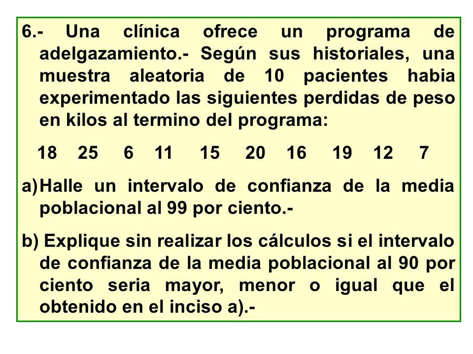 6.- Una clínica ofrece un programa de adelgazamiento.- Según sus historiales, una muestra aleatoria de 10 pacientes habia experimentado las siguientes
