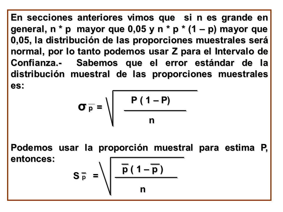 En secciones anteriores vimos que si n es grande en general, n * p mayor que 0,05 y n * p * (1 – p) mayor que 0,05, la distribución de las proporcione
