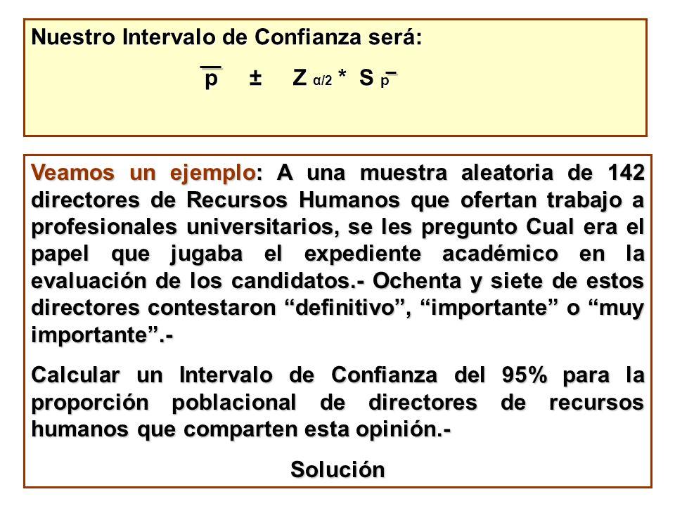 Nuestro Intervalo de Confianza será: p ± Z α/2 * S p p ± Z α/2 * S p Veamos un ejemplo: A una muestra aleatoria de 142 directores de Recursos Humanos