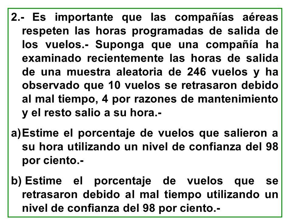 2.- Es importante que las compañías aéreas respeten las horas programadas de salida de los vuelos.- Suponga que una compañía ha examinado recientement
