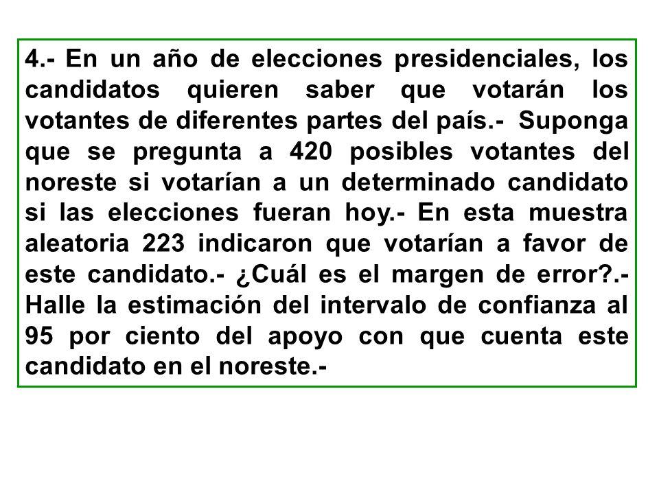 4.- En un año de elecciones presidenciales, los candidatos quieren saber que votarán los votantes de diferentes partes del país.- Suponga que se pregu