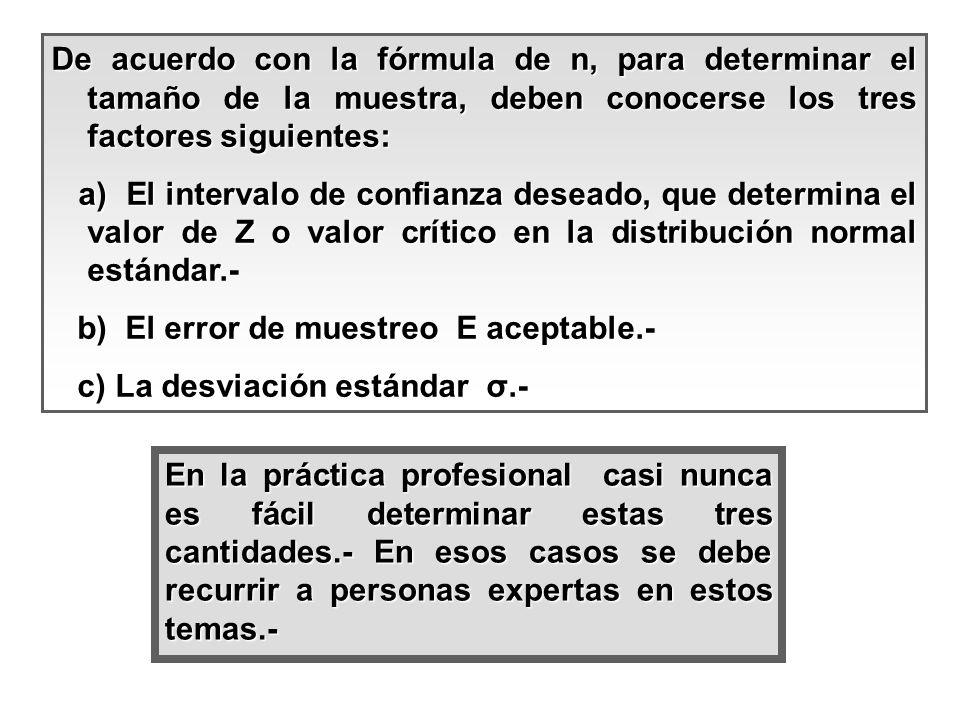 De acuerdo con la fórmula de n, para determinar el tamaño de la muestra, deben conocerse los tres factores siguientes: a) El intervalo de confianza de