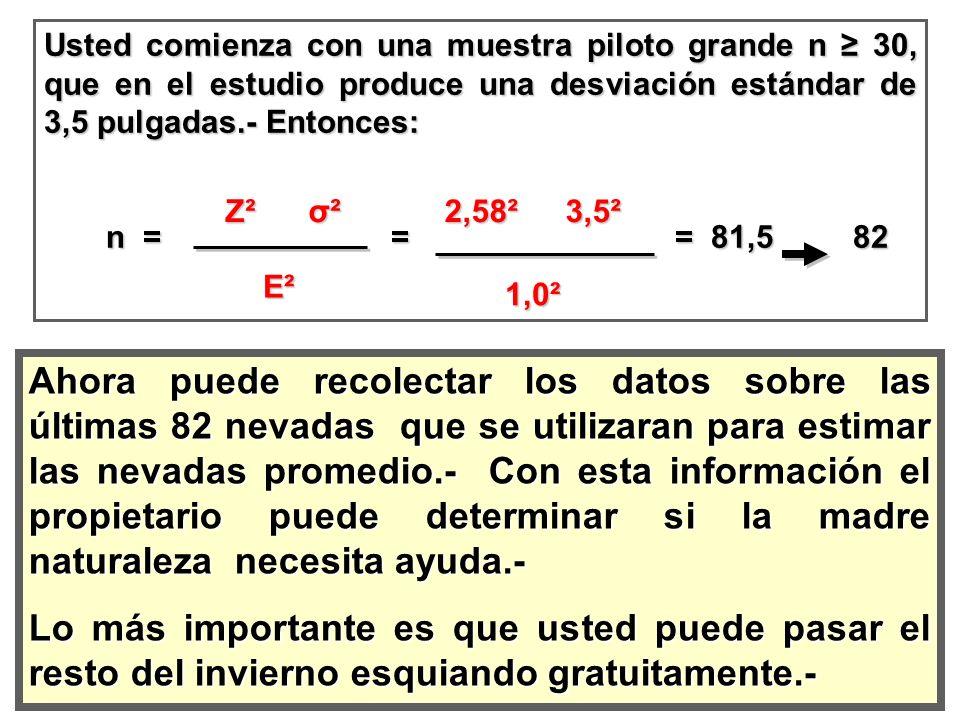 Usted comienza con una muestra piloto grande n 30, que en el estudio produce una desviación estándar de 3,5 pulgadas.- Entonces: n = = = 81,5 82 n = =