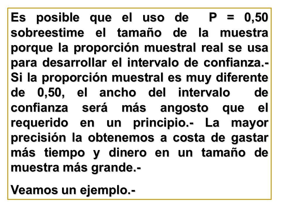 Es posible que el uso de P = 0,50 sobreestime el tamaño de la muestra porque la proporción muestral real se usa para desarrollar el intervalo de confi