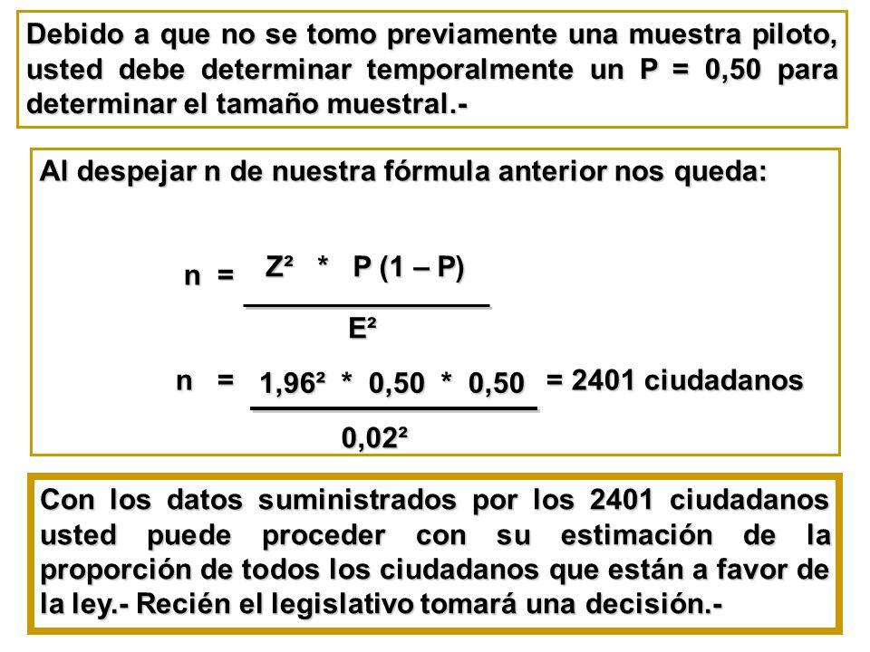 Debido a que no se tomo previamente una muestra piloto, usted debe determinar temporalmente un P = 0,50 para determinar el tamaño muestral.- Al despej
