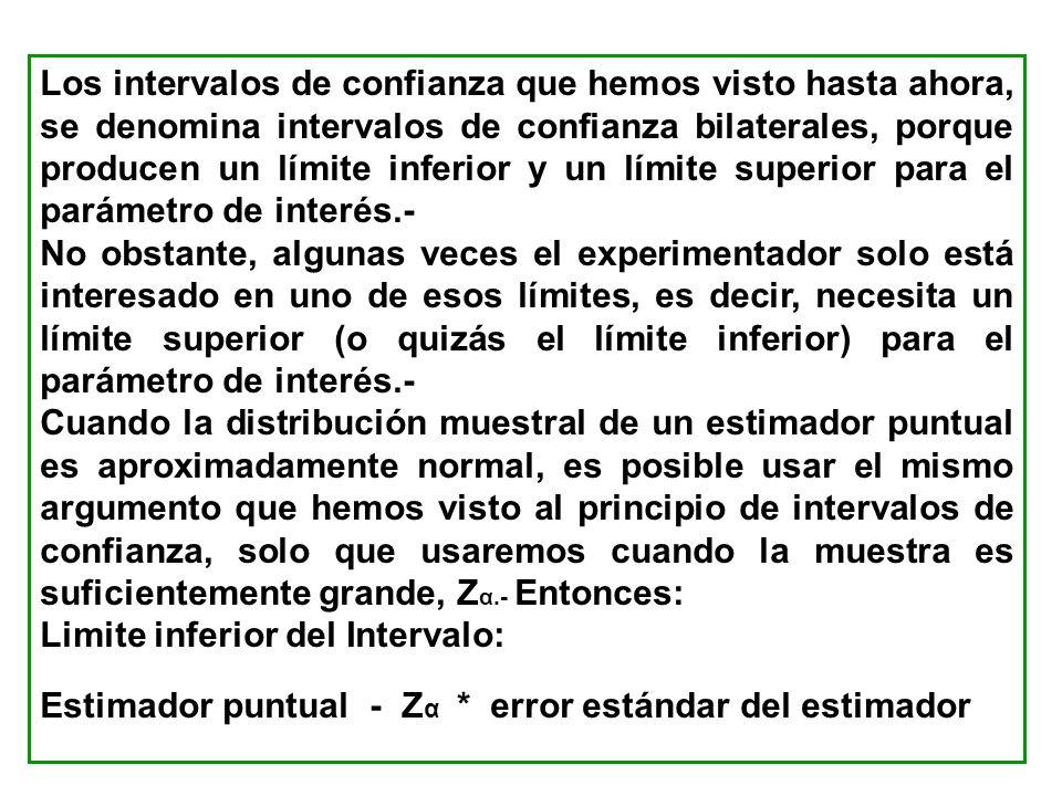 Los intervalos de confianza que hemos visto hasta ahora, se denomina intervalos de confianza bilaterales, porque producen un límite inferior y un lími