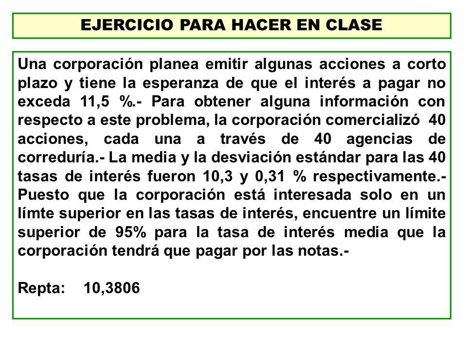 EJERCICIO PARA HACER EN CLASE Una corporación planea emitir algunas acciones a corto plazo y tiene la esperanza de que el interés a pagar no exceda 11