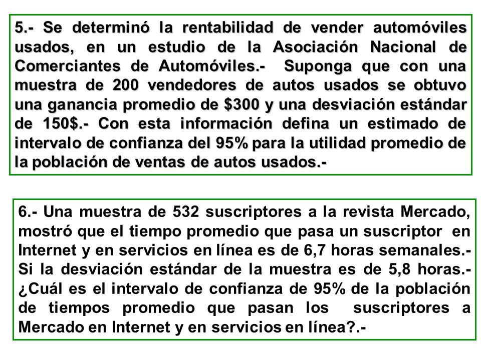 5.- Se determinó la rentabilidad de vender automóviles usados, en un estudio de la Asociación Nacional de Comerciantes de Automóviles.- Suponga que co