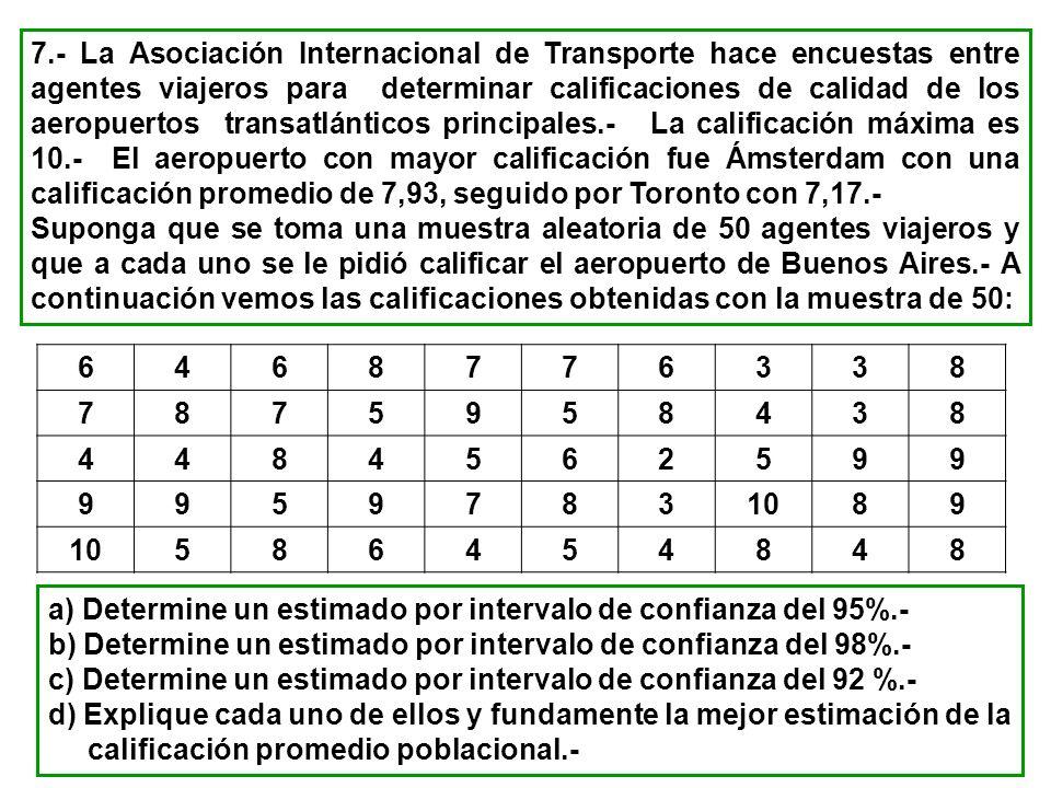 7.- La Asociación Internacional de Transporte hace encuestas entre agentes viajeros para determinar calificaciones de calidad de los aeropuertos trans