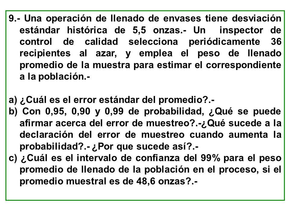 9.- Una operación de llenado de envases tiene desviación estándar histórica de 5,5 onzas.- Un inspector de control de calidad selecciona periódicament