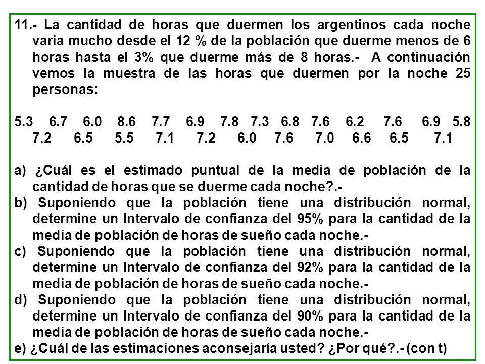 11.- La cantidad de horas que duermen los argentinos cada noche varia mucho desde el 12 % de la población que duerme menos de 6 horas hasta el 3% que