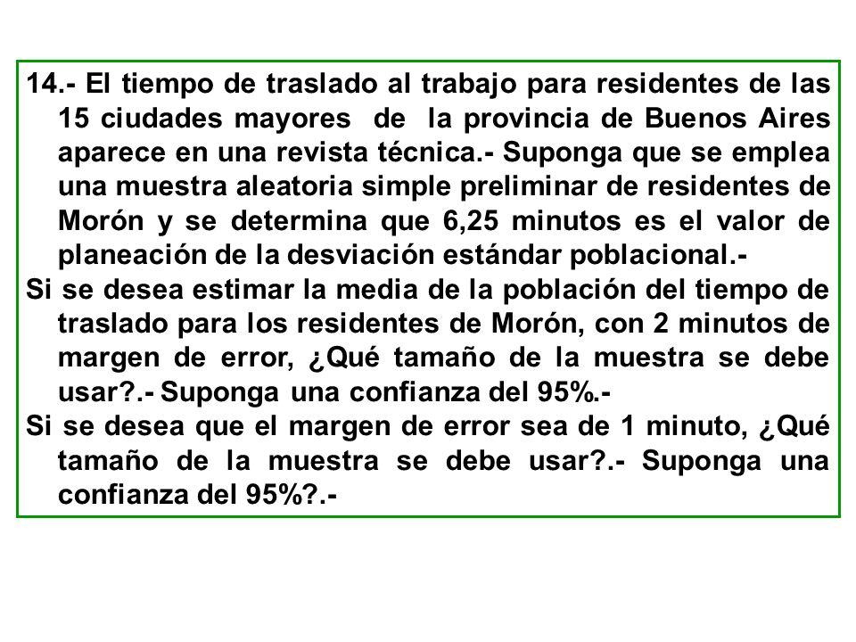 14.- El tiempo de traslado al trabajo para residentes de las 15 ciudades mayores de la provincia de Buenos Aires aparece en una revista técnica.- Supo