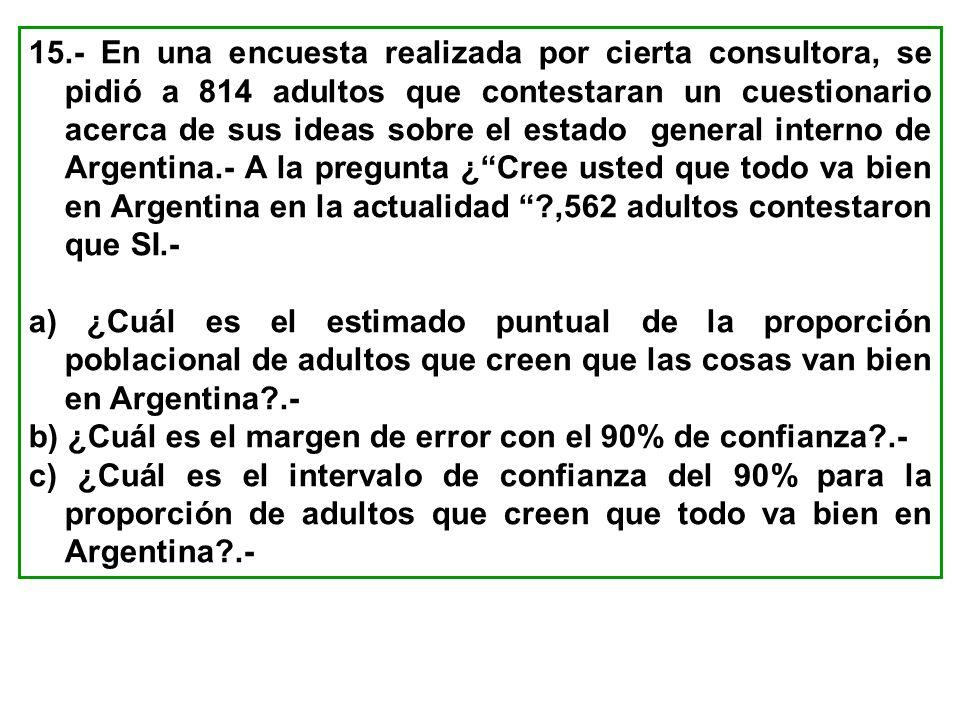 15.- En una encuesta realizada por cierta consultora, se pidió a 814 adultos que contestaran un cuestionario acerca de sus ideas sobre el estado gener
