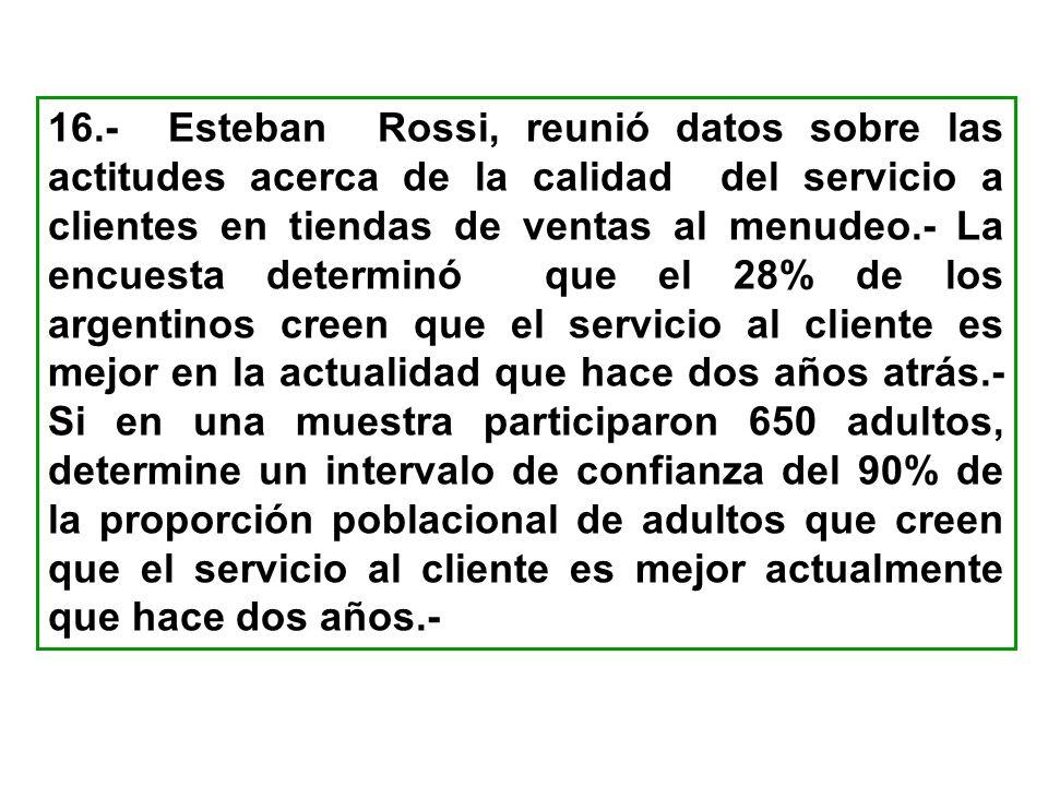 16.- Esteban Rossi, reunió datos sobre las actitudes acerca de la calidad del servicio a clientes en tiendas de ventas al menudeo.- La encuesta determ